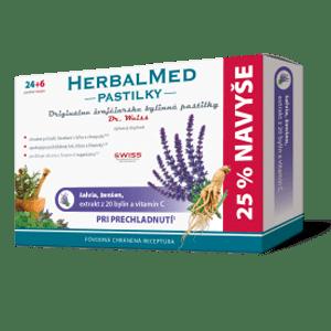 HerbalMed pastilky – šalvia, ženšen, + vit.C 24+6