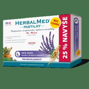 HerbalMed pastilky BEZ CUKRU – šalv., ženš. + vit.C 24+6