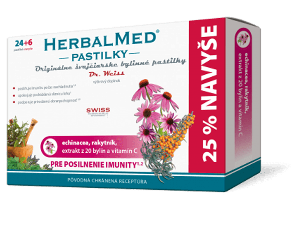 Herbalmed pastilky – echin., rakyt., + vit. C 24+6