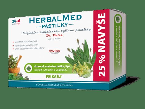 HerbalMed pastilky – skor., mat.dúš.,lipa,+ vit.C 24+6