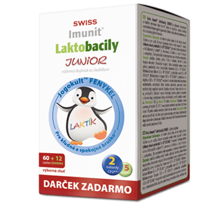 SWISS IMUNIT Laktobacily Junior 60+12 tbl.+ darček