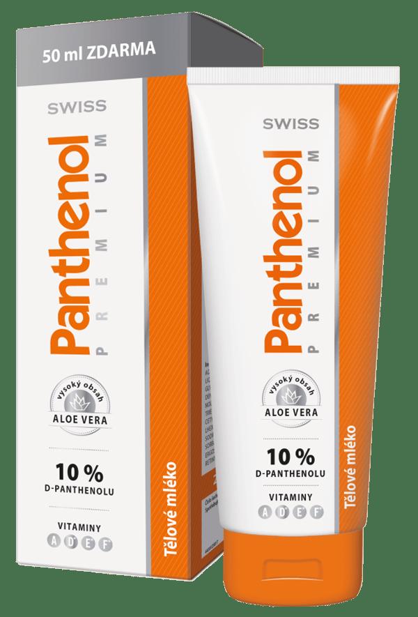 Panthenol 10% SWISS PREMIUM telové mlieko 200+50 ml ZADARMO