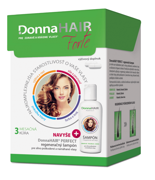Donna HAIR FORTE 3 mesačná kúra 90 tob.+ DH PERFECT šampón 100 ml