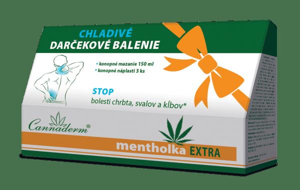 Cannaderm Mentholka EXTRA darčekové balenie 150 ml + náplasti 3 ks